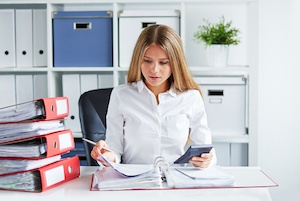 business woman payroll processing