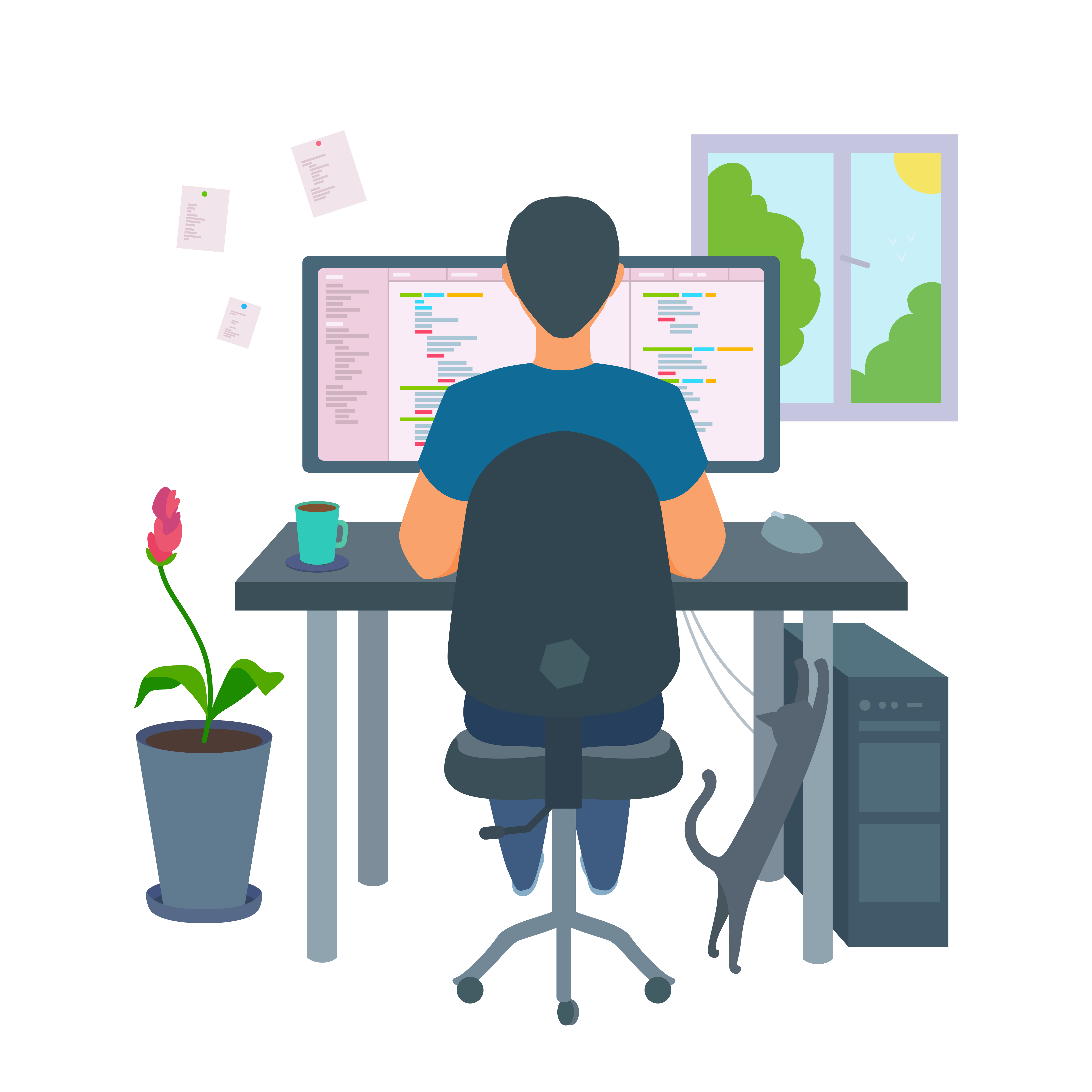 Illustration of man working from home at his computer